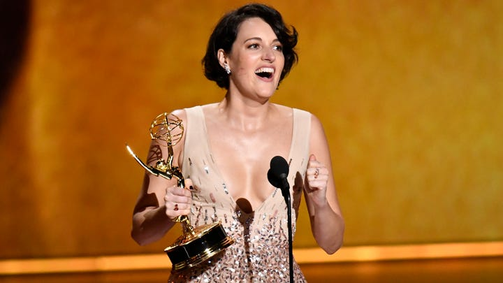 Sep 22, 2019; Los Angeles, CA, USA; Phoebe Waller-Bridge accepts the award for writing for a comedy series during the 71st Emmy Awards at the Microsoft Theater. Mandatory Credit: Robert Hanashiro-USA TODAY (Via OlyDrop)