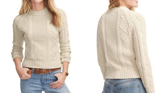 Cable-knit sweaters are a timeless style.