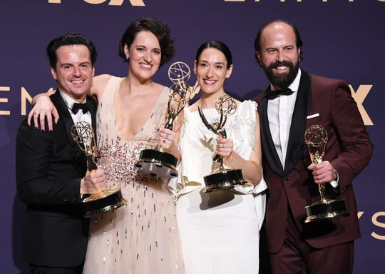 Andrew Scott, Phoebe Waller-Bridge, Sian Clifford, and Brett Gelman post backstage after winning best comedy for'Fleabag' Sunday night.