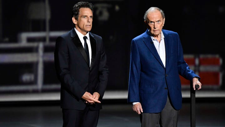 Sep 22, 2019; Los Angeles, CA, USA; Ben Stiller and Bob Newhart present the award for supporting actor in a comedy series during the 71st Emmy Awards at the Microsoft Theater. Mandatory Credit: Robert Hanashiro-USA TODAY ORIG FILE ID: 20190922_tdc_usa_007.JPG