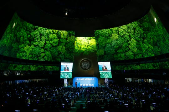 Secretary-General Antonio Guterres addresses the Climate Summit in the United Nations General Assembly at U.N. headquarters, Monday, Sept. 23, 2019.