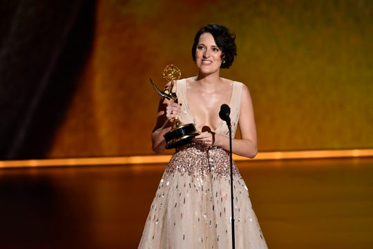 """Phoebe Waller-Bridge accepts the award for writing for a comedy series for """"Fleabag."""""""