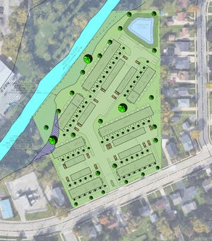 In this site plan for Cobblestone Creek Townhomes in Neenah, the Neenah Slough runs diagonally across the upper left and Winneconne Avenue runs diagonally across the bottom.