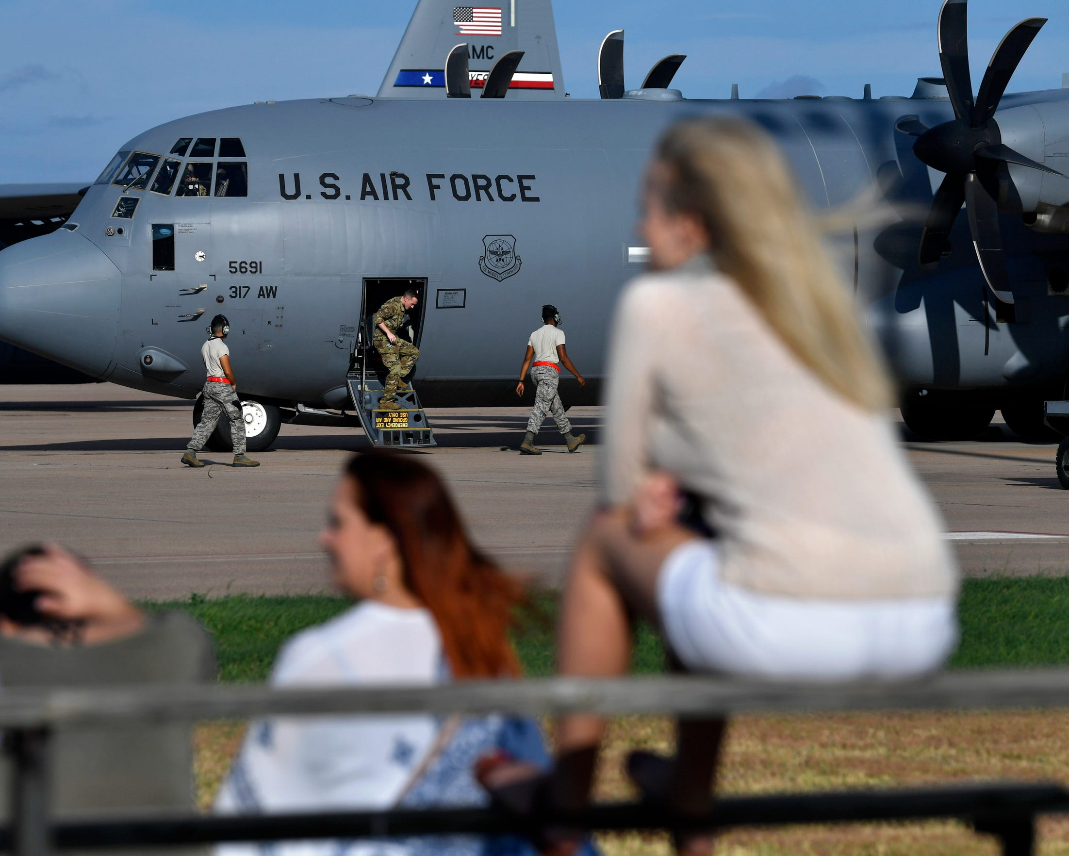 Friends and loved ones await the launch of nearly the entire 39th Airlift Squadron Sept. 9, 2019 at Dyess Air Force Base. The airmen were deploying to Afghanistan for the rest of the year.