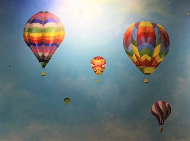 """""""Be Fearless"""" is an acrylic on canvas by Richelle Jones of Choctaw, Oklahoma, on display at The Center for Contemporary Arts. This weekend also is the annual balloon festival at Redbud Park."""