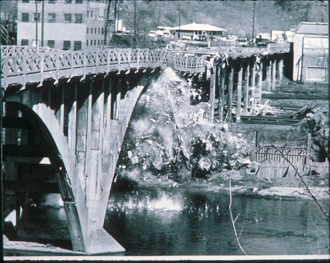 Dynamited bridge on Clingman Avenue