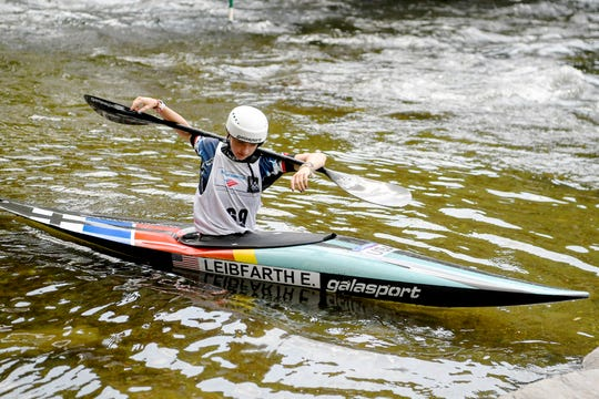 Evy Leibfarth warms up before competing at the Nantahala Outdoor Center August 10, 2019.