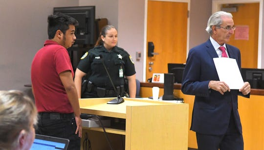 Randolph Goodwin sentenced in a Viera courtroom by Judge Kelly Jo McKibben. At right is his attorney, Steven Casanova.