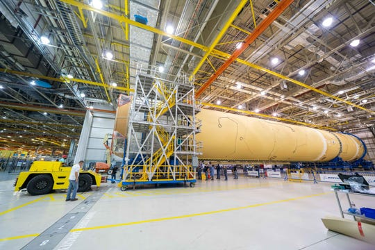 The Space Launch System rocket's core stage is seen at  Michoud Assembly Facility in New Orleans, Louisiana.