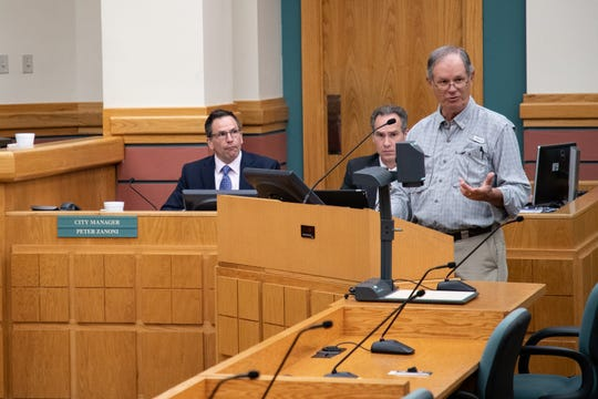 Resident Larry Jorden speaks out in favor of a preposed ordinance that would prohibit activities like prohibit lying down and prohibit lying down among other things in Blucher park during public comment at a City Council meeting on Tuesday, Sept. 24, 2019.