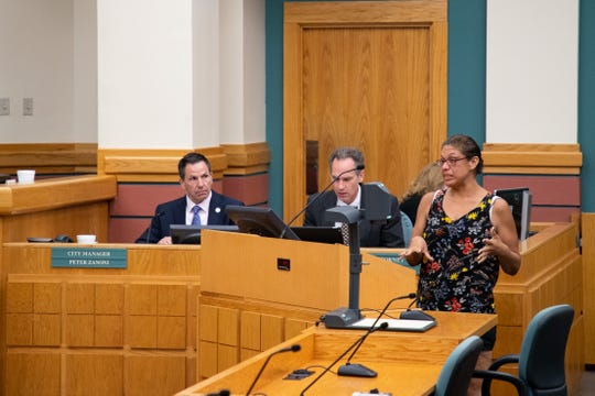 Rosanne Garc'a, a homeless women who sleeps in Blucher Park, speaks out against a preposed ordinance that would prohibit activities like prohibit lying down and prohibit lying down among other things in Blucher park during public comment at a City Council meeting on Tuesday, Sept. 24, 2019.
