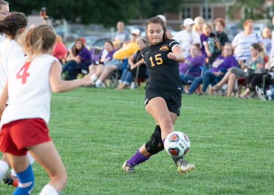 Unioto's Kylee Bethel kicks the ball during a 6-1 win over Zane Trace at Unioto High School on Sept. 23, 2019, in Chillicothe, Ohio.