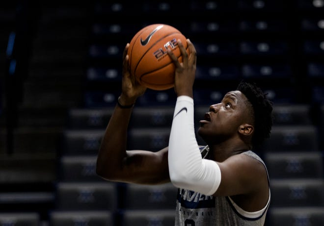 Xavier Musketeers forward Daniel Ramsey (0) Goes up during Xavier Musketeers men's basketball practice on Tuesday, Sept. 24, 2019, at the Cintas Center in Evanston.