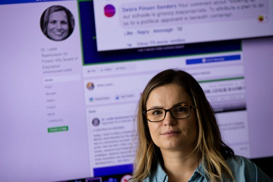 Leslie Rasmussen, a Xavier University professor who teaches classes on social media sits inside her office on Tuesday, Sept. 24, 2019, at Xavier University in Evanston. Leslie Rasmussen is currently running for Forest Hills School Board in Anderson Township.