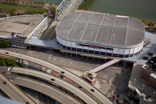 US Bank Arena as seen from the top of the Great American Tower in downtown Cincinnati on Tuesday, Sept. 24, 2019.