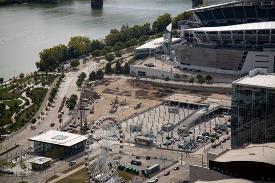 The future site of the riverfront concert venue as seen from the top of the Great American Tower in downtown Cincinnati on Tuesday, Sept. 24, 2019.