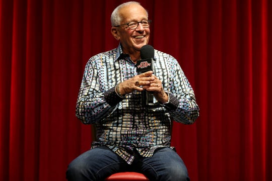 Cincinnati Reds Hall of Fame broadcaster Marty Brennaman, who is retiring at the end of the 2019 season, takes questions during a press conference, Tuesday, Sept. 24, 2019, at Great American Ball Park in Cincinnati.