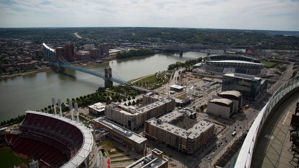 The Ohio River and The Banks as seen from the top of the Great American Tower in downtown Cincinnati on Tuesday, Sept. 24, 2019.