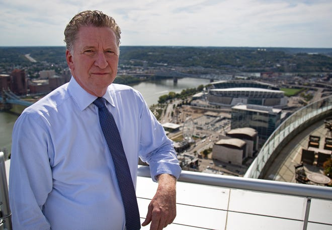Attorney Tom Gabelman of Frost Brown Todd, representatives for the county, poses at the top floor observation deck of the Great American Tower in downtown Cincinnati on Tuesday, Sept. 24, 2019.