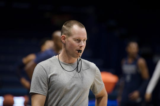 Xavier Musketeers head coach Travis Steele looks on during Xavier Musketeers men's basketball practice on Tuesday, Sept. 24, 2019, at the Cintas Center in Evanston.