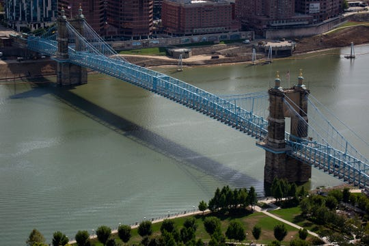 The Roebling Bridge as seen from the top of the Great American Tower in downtown Cincinnati on Tuesday, Sept. 24, 2019.