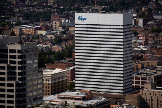 The Kroger world headquarters as seen from the top of the Great American Tower in downtown Cincinnati on Tuesday, Sept. 24, 2019.