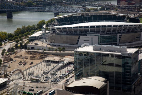 Paul Brown Stadium and the future riverfront concert venue site as seen from the top of the Great American Tower in downtown Cincinnati on Tuesday, Sept. 24, 2019.