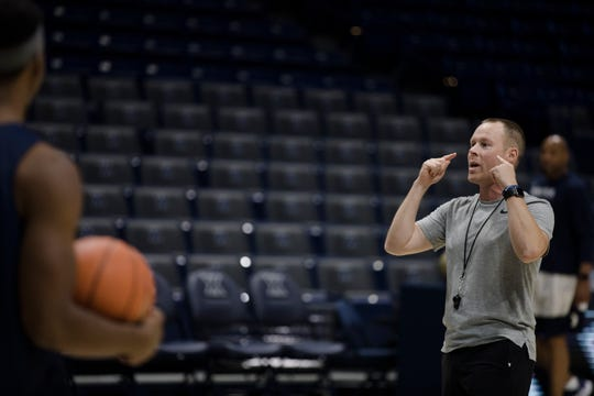 Xavier Musketeers head coach Travis Steele coaches during Xavier Musketeers men's basketball practice on Tuesday, Sept. 24, 2019, at the Cintas Center in Evanston.