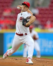 Cincinnati Reds starting pitcher Sonny Gray (54) delivers in the first inning of an MLB baseball game against the Milwaukee Brewers, Tuesday, Sept. 24, 2019, at Great American Ball Park in Cincinnati.