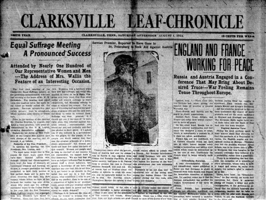 The front page of the Clarksville Leaf-Chronicle on Aug. 1, 1914, the day after the first suffrage meeting in Montgomery County.