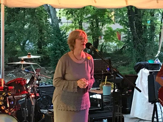 Ellen Kanervo talks about the efforts to create the Tennessee Triumph statue at a reception for donors on Saturday, Sept. 21, 2019.