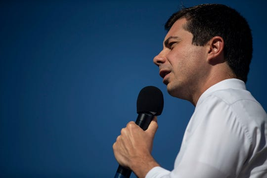 Pete Buttigieg, mayor of South Bend, Ind., speaks to the crowd gathered at Lyons Four Square Park on Tuesday, Sep. 24, 2019, in Clinton.