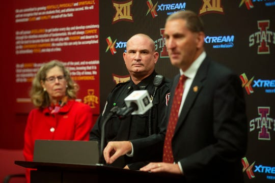 "Iowa State University athletic director Jamie Pollard speaks at a news conference on Sept. 24, 2019 in Ames to address reports of violence by fans directed at Iowa Hawkeye Band members after the season's Iowa-Iowa State football game on Sept. 14. ""We really care, but the statement that 'something really bad happened' has created another narrative that there was something that happened that wasn't part of those five allegations,"" Pollard said."