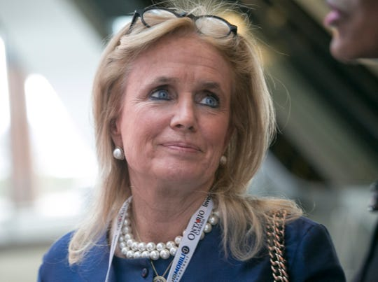 U.S. Representative Debbie Dingell (MI-12) speaks to reporters at the 2018 North American International Auto Show at Cobo Center. in Detroit, Sunday, January 14, 2018.