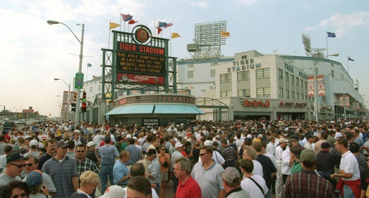 Crowds fill the corner before the Tigers beat the Royals, 8-2, in the final game at Tiger Stadium on Sept. 27, 1999.