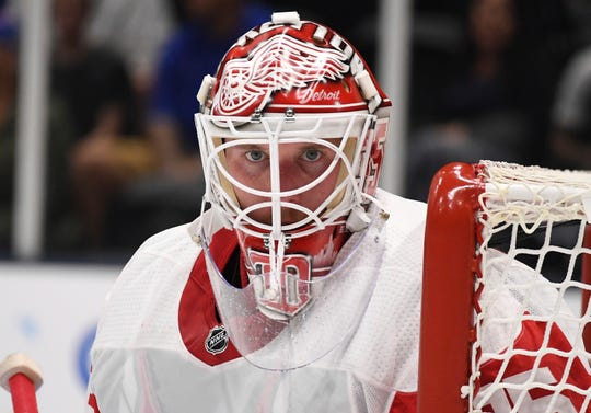 Red Wings goaltender Jimmy Howard protects the net during the second period of the Wings' 3-2 overtime loss to the Islanders in the preseason game on Monday, Sept. 23, 2019, in Uniondale, N.Y.