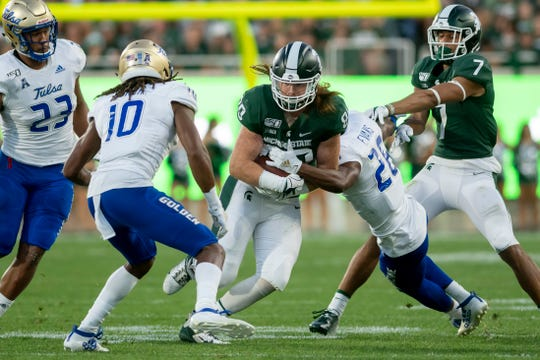 Michigan State tight end Matt Seybert, shown here against Tulsa, had a pair of touchdown catches against Northwestern.