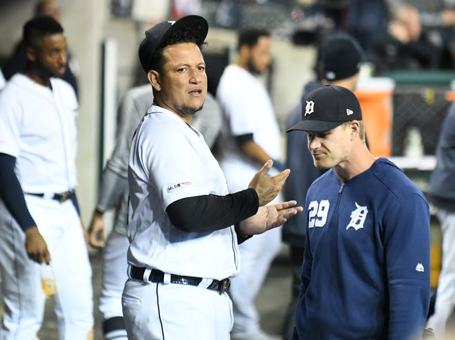 Miguel Cabrera, left, has hit just 10 home runs this season.