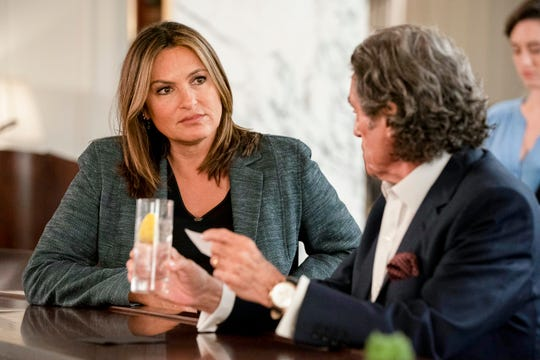 "This image released by NBC shows Mariska Hargitay and Ian McShane in a scene from ""Law & Order: SVU.""  The show's 21st season premieres on Sept. 26."