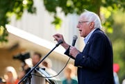Democratic presidential candidate U.S. Sen. Bernie Sanders, I-Vt., speaks during a brief campaign stop at Town Clock Plaza in Dubuque, Iowa, Monday, Sept. 23, 2019.