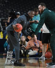 Michigan State guard Joshua Langford returned to the basketball court Tuesday after missing most of last season with a foot injury.