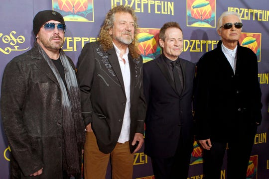 "From left, Jason Bonham, son of the late Led Zeppelin drummer John Bonham; singer Robert Plant; bassist John Paul Jones; and guitarist Jimmy Page at the ""Led Zeppelin: Celebration Day"" premiere in New York on Oct. 9, 2012."