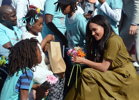 Meghan, the Duchess of Sussex, during a walkabout in Bo-Kaap, a heritage site, in Cape Town, South Africa, Tuesday, Sept, 24, 2019.
