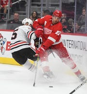 Red Wings coach Jeff Blashill says new defenseman Patrik Nemeth brings a strong net-front presence to the team.