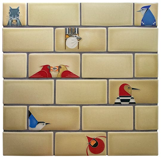 Motawi Tileworks in Ann Arbor has expanded its line of Charley Harper for Installation subway tiles with three more colors. Pictured is Light Sand.