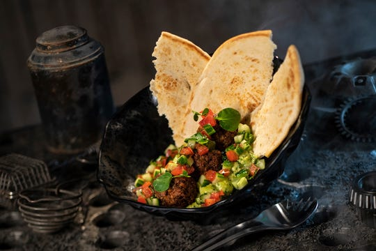 """The Felucian Garden Spread at Star Wars: Galaxy's Edge is made with plant-based """"kefta,"""" herb hummus, tomato-cucumber relish and pita."""