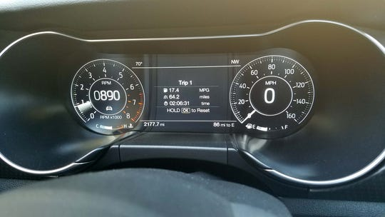 The standard display on the 2020 Ford Mustang HiPo. A digital display is also available.