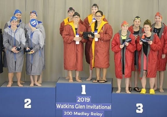 Ithaca's winning 200-yard medley relay topped the state standard at Watkins Glen's invitational on Sept. 21, 2019.
