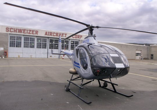 A Schweizer Aircraft Corp. Model 333 sits outside the Big Flats manufacturing facility in 2002.