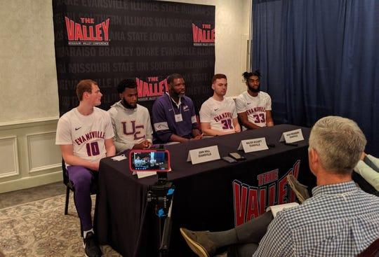 Evan Kuhlman, John Hall, Walter McCarty, Noah Frederking and K.J. Riley represented the Aces at MVC Basketball Tipoff.